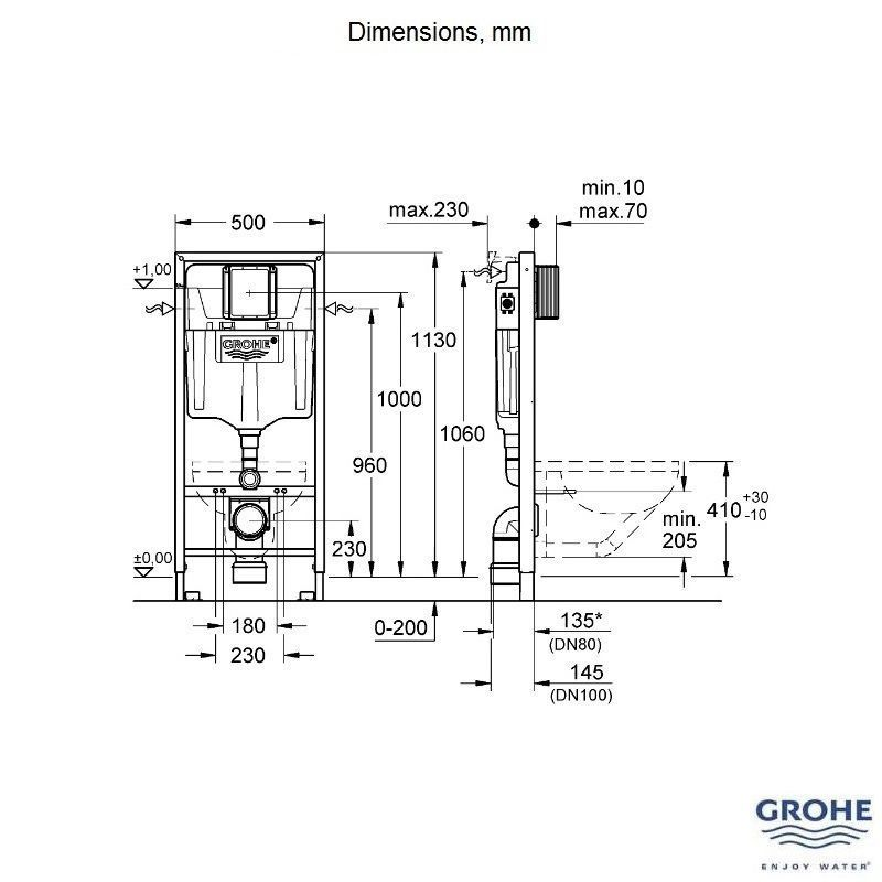 1.13m Concealed Frame and Cistern GROHE Rapid SL 3 in 1 WC Set incl 38772 001