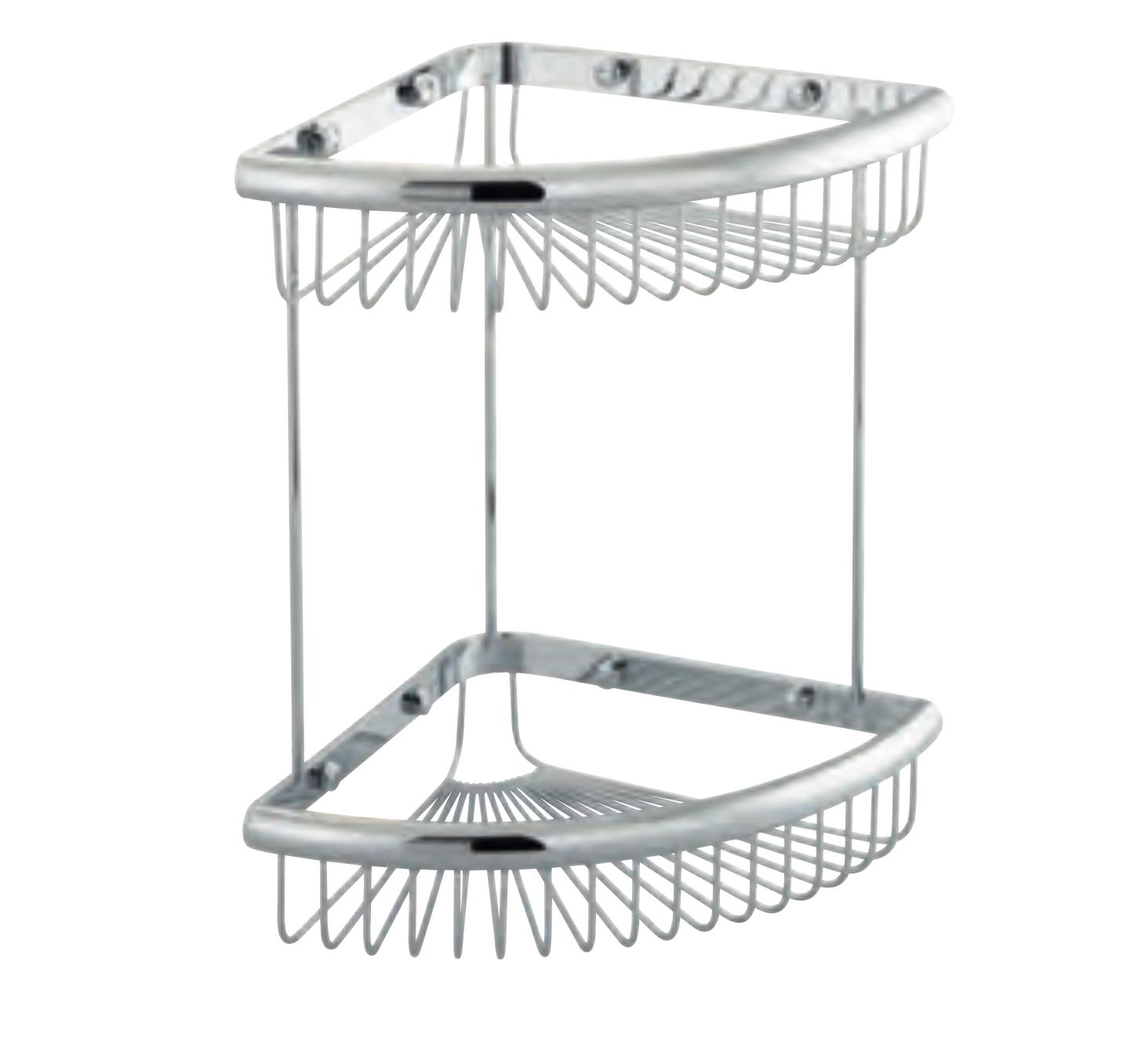 Double Corner 2 Tier Large Wire Soap Basket Chrome Plated Solid Brass Rack